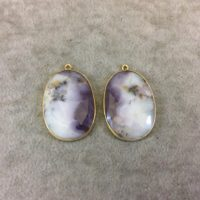 """One Pair Of Ooak Gold Finish Smooth Dendritic Opal Oval / oblong Shaped Bezel Pendants """"dogd05"""" – Measuring 25mm X 34mm – Natural Gemstone 