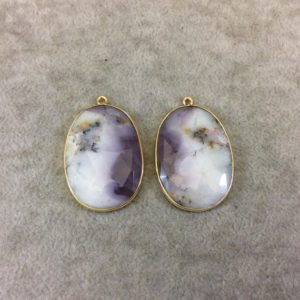 """Shop Opal Pendants! One Pair of OOAK Gold Finish Smooth Dendritic Opal Oval/Oblong Shaped Bezel Pendants """"DOGD05"""" – Measuring 25mm x 34mm – Natural Gemstone 