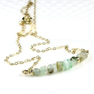 Shop Opal Pendants! Peru Opal Gold Filled or Sterling Silver Bar Necklace natural gemstone dainty beaded pendant October birthstone birthday gift for women 5657 | Natural genuine Opal pendants. Buy crystal jewelry, handmade handcrafted artisan jewelry for women.  Unique handmade gift ideas. #jewelry #beadedpendants #beadedjewelry #gift #shopping #handmadejewelry #fashion #style #product #pendants #affiliate #ad