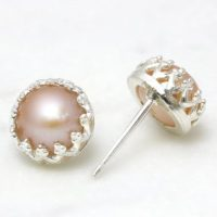 Peach Pearl Earrings, freshwater Pearl Earrings, silver Earrings, stud Earrings, delicate Post Earrings, woman Earrings | Natural genuine Gemstone jewelry. Buy crystal jewelry, handmade handcrafted artisan jewelry for women.  Unique handmade gift ideas. #jewelry #beadedjewelry #beadedjewelry #gift #shopping #handmadejewelry #fashion #style #product #jewelry #affiliate #ad