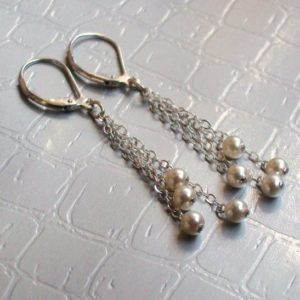 Shop Pearl Earrings! White Pearl Tassel Earrings. Sterling silver, gold fill, rose gold, tarnished silver | Natural genuine Pearl earrings. Buy crystal jewelry, handmade handcrafted artisan jewelry for women.  Unique handmade gift ideas. #jewelry #beadedearrings #beadedjewelry #gift #shopping #handmadejewelry #fashion #style #product #earrings #affiliate #ad