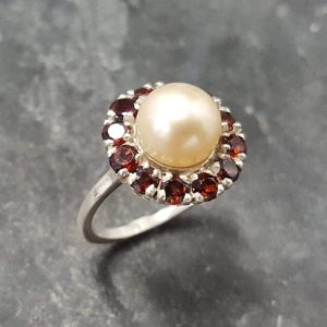 Shop Pearl Rings! Cream Pearl Ring, Natural Pearl, Vintage Ring, June Birthstone, January Birthstone, Birthstone Ring, Solid Silver Ring, Victorian Ring | Natural genuine Pearl rings, simple unique handcrafted gemstone rings. #rings #jewelry #shopping #gift #handmade #fashion #style #affiliate #ad