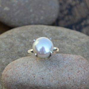 Shop Pearl Rings! Cultured South Sea Pearl Gemstone Ring, Handmade Statement Ring, 925 Sterling Silver Ring, Pearl Gemstone Ring ,Prong Ring, Yellow Gold Ring | Natural genuine Pearl rings, simple unique handcrafted gemstone rings. #rings #jewelry #shopping #gift #handmade #fashion #style #affiliate #ad