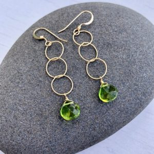Peridot Earrings, August Birthstone, Lime Green Simple Circle Earrings, Three Circle Everyday Boho Dangling Earrings, Gift for her under 30 | Natural genuine Gemstone earrings. Buy crystal jewelry, handmade handcrafted artisan jewelry for women.  Unique handmade gift ideas. #jewelry #beadedearrings #beadedjewelry #gift #shopping #handmadejewelry #fashion #style #product #earrings #affiliate #ad