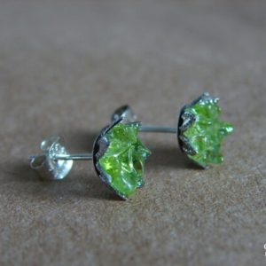 Peridot Earrings, Raw Peridot Studs, Green Lotus Flower, August Birthstone, Uncommon Rare Gift, Green Valentines Wife, Fun St Patrick's Day   Natural genuine Gemstone earrings. Buy crystal jewelry, handmade handcrafted artisan jewelry for women.  Unique handmade gift ideas. #jewelry #beadedearrings #beadedjewelry #gift #shopping #handmadejewelry #fashion #style #product #earrings #affiliate #ad