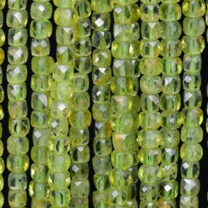 Shop Peridot Faceted Beads! 95 / 47 Pcs – 3-4MM Peridot Beads Grade AA Genuine Natural Faceted Cube Gemstone Loose Beads (111756) | Natural genuine faceted Peridot beads for beading and jewelry making.  #jewelry #beads #beadedjewelry #diyjewelry #jewelrymaking #beadstore #beading #affiliate #ad