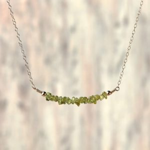 Shop Peridot Necklaces! Peridot necklace August birthday jewelry Delicate womens necklace Crystal peridot jewelry Girlfriend gift for women Beaded bar necklace | Natural genuine Peridot necklaces. Buy crystal jewelry, handmade handcrafted artisan jewelry for women.  Unique handmade gift ideas. #jewelry #beadednecklaces #beadedjewelry #gift #shopping #handmadejewelry #fashion #style #product #necklaces #affiliate #ad