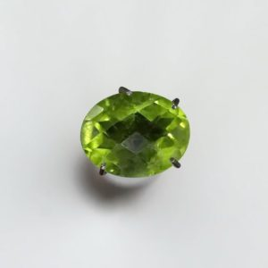 Natural peridot oval loose gemstone 9x7mm Faceted checkerboad cut stone 2.02ct | Natural genuine stones & crystals in various shapes & sizes. Buy raw cut, tumbled, or polished gemstones for making jewelry or crystal healing energy vibration raising reiki stones. #crystals #gemstones #crystalhealing #crystalsandgemstones #energyhealing #affiliate #ad