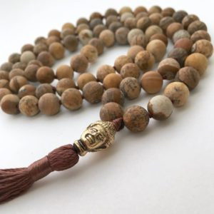 Shop Picture Jasper Necklaces! 108 Mala Necklace, Picture Jasper Necklace, Matte Necklaces, Hand Knotted Necklace, Hand Knotted Mala, Meditation Jewelry, Buddhist Necklace | Natural genuine Picture Jasper necklaces. Buy crystal jewelry, handmade handcrafted artisan jewelry for women.  Unique handmade gift ideas. #jewelry #beadednecklaces #beadedjewelry #gift #shopping #handmadejewelry #fashion #style #product #necklaces #affiliate #ad