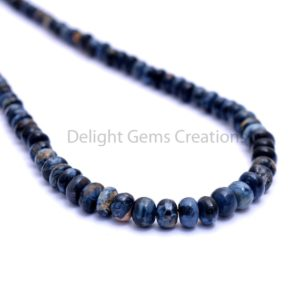 Shop Pietersite Necklaces! Blue Pietersite Necklace, 4mm-6mm Pietersite Smooth Roundel Beads Necklace,Pietersite Beaded Necklace,Elegant-Designer-Necklace-Gift For Her | Natural genuine Pietersite necklaces. Buy crystal jewelry, handmade handcrafted artisan jewelry for women.  Unique handmade gift ideas. #jewelry #beadednecklaces #beadedjewelry #gift #shopping #handmadejewelry #fashion #style #product #necklaces #affiliate #ad