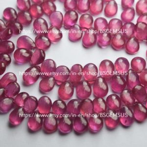 Shop Pink Sapphire Beads! 10 Beads,Finest Quality,Natural Pink Sapphire Smooth Pear Shaped Briolette,Size 8-9mm   Natural genuine other-shape Pink Sapphire beads for beading and jewelry making.  #jewelry #beads #beadedjewelry #diyjewelry #jewelrymaking #beadstore #beading #affiliate #ad