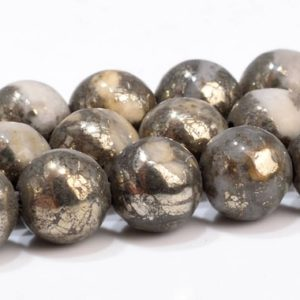 """Shop Pyrite Beads! 6MM Gold & White Pyrite Beads Grade AAA Genuine Natural Gemstone  Round Loose Beads 15.5"""" / 7.5"""" Bulk Lot Options (102955)   Natural genuine beads Pyrite beads for beading and jewelry making.  #jewelry #beads #beadedjewelry #diyjewelry #jewelrymaking #beadstore #beading #affiliate #ad"""