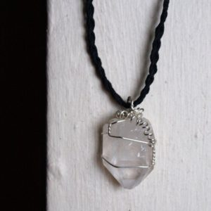 Shop Quartz Crystal Necklaces! Raw Quartz (Large Point) Necklace – Healing Crystal Jewelry – Sterling Silver, Black Hemp Chain – Ecofriendly Hippie Bohemian | Natural genuine Quartz necklaces. Buy crystal jewelry, handmade handcrafted artisan jewelry for women.  Unique handmade gift ideas. #jewelry #beadednecklaces #beadedjewelry #gift #shopping #handmadejewelry #fashion #style #product #necklaces #affiliate #ad