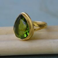 Pear Cut Peridot Quartz Gemstone Ring, Sterling Silver Yellow Plated, Rose Gold Plated Gold Ring, Green Peridot Gift Ring | Natural genuine Gemstone jewelry. Buy crystal jewelry, handmade handcrafted artisan jewelry for women.  Unique handmade gift ideas. #jewelry #beadedjewelry #beadedjewelry #gift #shopping #handmadejewelry #fashion #style #product #jewelry #affiliate #ad
