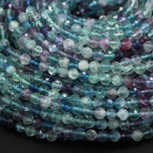 """Shop Faceted Gemstone Beads! AAA Grade Gemmy Natural Rainbow Fluorite Faceted 2mm 3mm 4mm 6mm Round Beads Micro Faceted Teal Blue Purple Green Gemstone Bead 16"""" Strand 