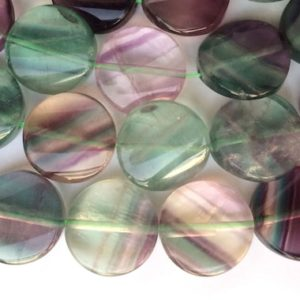 """15.5"""" 16mm Rainbow fluorite twisted coin beads, Natural green gemstone/semi precious stone JGDOS   Natural genuine other-shape Gemstone beads for beading and jewelry making.  #jewelry #beads #beadedjewelry #diyjewelry #jewelrymaking #beadstore #beading #affiliate #ad"""