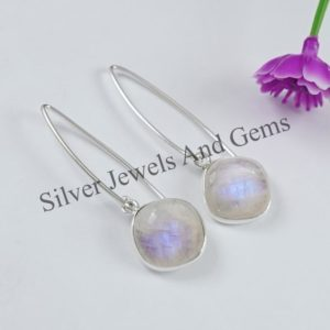 Shop Rainbow Moonstone Earrings! Natural Rainbow Moonstone Earrings, Blue Fire Moonstone Earrings, Handmade Silver Earrings, 925 Sterling Silver, Square Moonstone Earrings   Natural genuine Rainbow Moonstone earrings. Buy crystal jewelry, handmade handcrafted artisan jewelry for women.  Unique handmade gift ideas. #jewelry #beadedearrings #beadedjewelry #gift #shopping #handmadejewelry #fashion #style #product #earrings #affiliate #ad