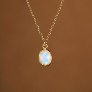 Shop Rainbow Moonstone Necklaces! Moonstone necklace, June birthstone,  minimalist  everyday necklace, rainbow moonstone jewelry,  blue flash, 14k gold filled chain | Natural genuine Rainbow Moonstone necklaces. Buy crystal jewelry, handmade handcrafted artisan jewelry for women.  Unique handmade gift ideas. #jewelry #beadednecklaces #beadedjewelry #gift #shopping #handmadejewelry #fashion #style #product #necklaces #affiliate #ad