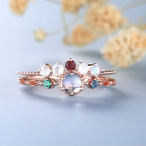 Shop Rainbow Moonstone Rings! Dainty Moonstone Ring set, Multi-Stone Ring, Rainbow Moonstone Ring, Rose Gold Rings for Women, Stacking Band, Multicolor ring, Gift for Her | Natural genuine Rainbow Moonstone rings, simple unique handcrafted gemstone rings. #rings #jewelry #shopping #gift #handmade #fashion #style #affiliate #ad