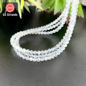Shop Rainbow Moonstone Round Beads! Natural Rainbow Moonstone 4.5-5.5mm Smooth Round Shape Gemstone Beads Lot / Approx 254 Pieces on 3 Strands of 16 Inch Length / JBC-ET-158057 | Natural genuine round Rainbow Moonstone beads for beading and jewelry making.  #jewelry #beads #beadedjewelry #diyjewelry #jewelrymaking #beadstore #beading #affiliate #ad
