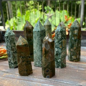 Shop Rainforest Jasper Stones & Crystals! Rhyolite (rainforest Jasper) Crystal Towers   Natural genuine stones & crystals in various shapes & sizes. Buy raw cut, tumbled, or polished gemstones for making jewelry or crystal healing energy vibration raising reiki stones. #crystals #gemstones #crystalhealing #crystalsandgemstones #energyhealing #affiliate #ad