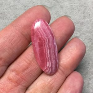 """Shop Rhodochrosite Cabochons! OOAK AAA Rhodochrosite Oblong Oval Shaped Flat Back Cabochon """"4"""" – Measuring 15mm x 36mm, 4mm Dome Height – Natural High Quality Gemstone 