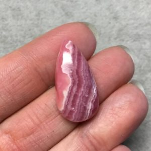 """Shop Rhodochrosite Cabochons! OOAK AAA Rhodochrosite Pear/Teardrop Shaped Flat Back Cabochon """"21"""" – Measuring 15mm x 28mm, 6mm Dome Height – Natural High Quality Gemstone 