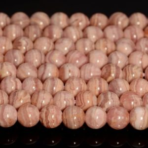Shop Rhodochrosite Round Beads! Genuine Natural Argentina Rhodochrosite Gemstone Light Pink Red Grade AA Lace 3mm 4mm 5mm 6mm Round Loose Beads Full Strand (A229) | Natural genuine round Rhodochrosite beads for beading and jewelry making.  #jewelry #beads #beadedjewelry #diyjewelry #jewelrymaking #beadstore #beading #affiliate #ad