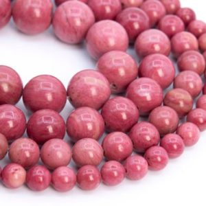 Genuine Natural Rose Pink Rhodonite Loose Beads Round Shape 6-7mm 8mm 10-11mm 12-13mm | Natural genuine round Rhodonite beads for beading and jewelry making.  #jewelry #beads #beadedjewelry #diyjewelry #jewelrymaking #beadstore #beading #affiliate #ad