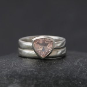 Rose Quartz Engagement Ring – Pink Gemstone Engagement Ring – Trillion Ring – Rose Quartz Trillion Wedding Set – Made to Order | Natural genuine Array jewelry. Buy handcrafted artisan wedding jewelry.  Unique handmade bridal jewelry gift ideas. #jewelry #beadedjewelry #gift #crystaljewelry #shopping #handmadejewelry #wedding #bridal #jewelry #affiliate #ad