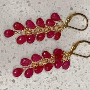 Natural Red Ruby Gold Fill Earrings.  Cascade Dangles.  Gemstone Jewelry.  Christmas gIft.  July birthstone | Natural genuine Array earrings. Buy crystal jewelry, handmade handcrafted artisan jewelry for women.  Unique handmade gift ideas. #jewelry #beadedearrings #beadedjewelry #gift #shopping #handmadejewelry #fashion #style #product #earrings #affiliate #ad