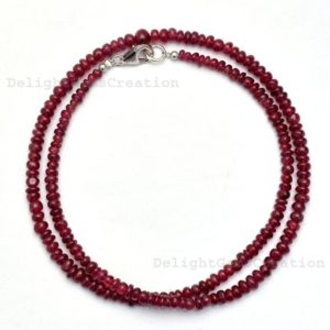 Shop Ruby Necklaces! Ruby gemstone necklace July birthstone jewelry, ruby bead necklace for women, smooth rondelles, valentine's gift for girlfriend wedding gift | Natural genuine Ruby necklaces. Buy handcrafted artisan wedding jewelry.  Unique handmade bridal jewelry gift ideas. #jewelry #beadednecklaces #gift #crystaljewelry #shopping #handmadejewelry #wedding #bridal #necklaces #affiliate #ad