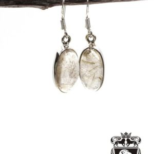 Shop Rutilated Quartz Earrings! Elongated Oval Rutile Rutilated Quartz 925 SOLID Sterling Silver Earrings E116 | Natural genuine Rutilated Quartz earrings. Buy crystal jewelry, handmade handcrafted artisan jewelry for women.  Unique handmade gift ideas. #jewelry #beadedearrings #beadedjewelry #gift #shopping #handmadejewelry #fashion #style #product #earrings #affiliate #ad