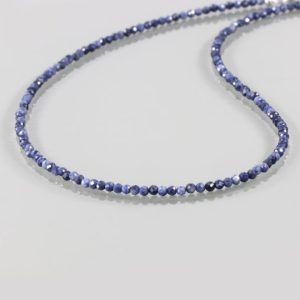 1 Strand Of Genuine Blue Sapphire Necklace – Faceted Round Beads – Rare & Natural Sapphire Necklace – 925 Silver Stone Necklace | Natural genuine Sapphire necklaces. Buy crystal jewelry, handmade handcrafted artisan jewelry for women.  Unique handmade gift ideas. #jewelry #beadednecklaces #beadedjewelry #gift #shopping #handmadejewelry #fashion #style #product #necklaces #affiliate #ad