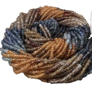 """Shop Sapphire Rondelle Beads! 1-2mm x 2-3mm Smooth Rondelle Champagne/Blue/Gold Sapphire Beads – 14"""" Strand (~ 210 Beads) – Hi Quality Hand-Cut Indian Semi-Precious Gem 