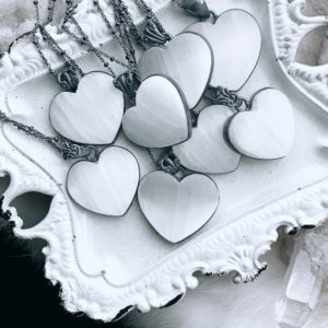 Selenite heart necklace, selenite pendant, crystal healing | Natural genuine Gemstone pendants. Buy crystal jewelry, handmade handcrafted artisan jewelry for women.  Unique handmade gift ideas. #jewelry #beadedpendants #beadedjewelry #gift #shopping #handmadejewelry #fashion #style #product #pendants #affiliate #ad