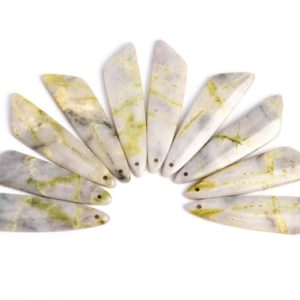 Shop Serpentine Pendants! 2 Pcs – 45x11x4MM Serpentine Jade Pendant Gray Yellow Triangle Flat Back Genuine Natural Drilled Cabochon (116844)   Natural genuine Serpentine pendants. Buy crystal jewelry, handmade handcrafted artisan jewelry for women.  Unique handmade gift ideas. #jewelry #beadedpendants #beadedjewelry #gift #shopping #handmadejewelry #fashion #style #product #pendants #affiliate #ad