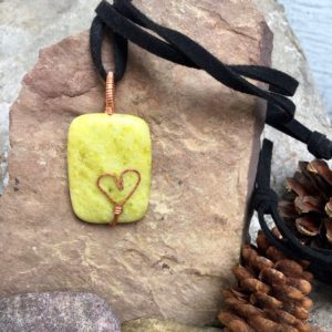 Shop Serpentine Pendants! Serpentine pendant with hammered copper heart. Adjustable suede cord.   Natural genuine Serpentine pendants. Buy crystal jewelry, handmade handcrafted artisan jewelry for women.  Unique handmade gift ideas. #jewelry #beadedpendants #beadedjewelry #gift #shopping #handmadejewelry #fashion #style #product #pendants #affiliate #ad