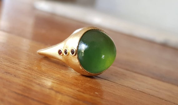 Serpentine Ring-garnet And Serpentine Ring-14k Gold Ring-statement Ring-big Green Ring-cocktail Ring-serpentine Cabochon Ring