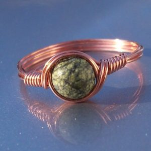 Shop Serpentine Rings! Russian Serpentine Copper Wire Wrapped Ring | Natural genuine Serpentine rings, simple unique handcrafted gemstone rings. #rings #jewelry #shopping #gift #handmade #fashion #style #affiliate #ad