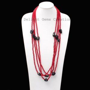 Shop Shungite Necklaces! Red Coral With Shungite Nuggets Round Beads Necklace, 100 Inches Long Endless Necklace, Gemstone Beaded Necklace, Christmas Gift Necklace | Natural genuine Shungite necklaces. Buy crystal jewelry, handmade handcrafted artisan jewelry for women.  Unique handmade gift ideas. #jewelry #beadednecklaces #beadedjewelry #gift #shopping #handmadejewelry #fashion #style #product #necklaces #affiliate #ad