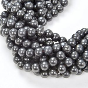 Shop Shungite Beads! 6mm Genuine Shungite Smooth Gemstone Anti Radiation High Carbon Grade AAA Round  7.5 inch Half Strand Loose Beads (80007677 H-A276) | Natural genuine round Shungite beads for beading and jewelry making.  #jewelry #beads #beadedjewelry #diyjewelry #jewelrymaking #beadstore #beading #affiliate #ad