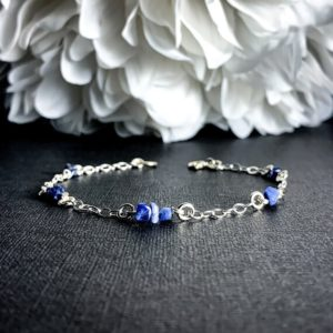Shop Sodalite Bracelets! Natural Blue Sodalite Gemstone Bracelet on a 925 Sterling Silver chain, Metaphysical anklet, Raw Sodalite Healing bracelet gemstone jewelry   Natural genuine Sodalite bracelets. Buy crystal jewelry, handmade handcrafted artisan jewelry for women.  Unique handmade gift ideas. #jewelry #beadedbracelets #beadedjewelry #gift #shopping #handmadejewelry #fashion #style #product #bracelets #affiliate #ad