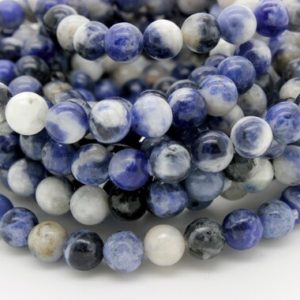 Shop Sodalite Jewelry! Natural Sodalite Smooth Round Gemstone 6mm 8mm 10mm Beads Elastic Cord Energy Healing Bracelet – PGB74 | Natural genuine Sodalite jewelry. Buy crystal jewelry, handmade handcrafted artisan jewelry for women.  Unique handmade gift ideas. #jewelry #beadedjewelry #beadedjewelry #gift #shopping #handmadejewelry #fashion #style #product #jewelry #affiliate #ad