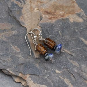 Shop Sodalite Earrings! Dainty Stone Beaded Earrings, Brown And Blue Natural Stones, Bronzite And Sodalite Earrings With Niobium Ear Wires | Natural genuine Sodalite earrings. Buy crystal jewelry, handmade handcrafted artisan jewelry for women.  Unique handmade gift ideas. #jewelry #beadedearrings #beadedjewelry #gift #shopping #handmadejewelry #fashion #style #product #earrings #affiliate #ad