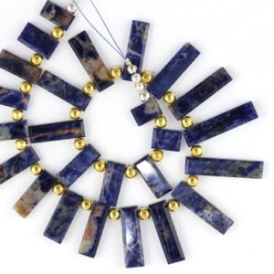 Shop Sodalite Necklaces! Natural Sodalite Flat Rectangle Shape Beads Sodalite Stone Blue Color Natural Stone Smooth Necklace Stone Sodalite Stone Blue Sodalite Beads | Natural genuine Sodalite necklaces. Buy crystal jewelry, handmade handcrafted artisan jewelry for women.  Unique handmade gift ideas. #jewelry #beadednecklaces #beadedjewelry #gift #shopping #handmadejewelry #fashion #style #product #necklaces #affiliate #ad