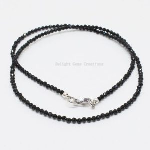 Shop Spinel Necklaces! 3mm Black Spinel Bead Necklace   Natural genuine Spinel necklaces. Buy crystal jewelry, handmade handcrafted artisan jewelry for women.  Unique handmade gift ideas. #jewelry #beadednecklaces #beadedjewelry #gift #shopping #handmadejewelry #fashion #style #product #necklaces #affiliate #ad