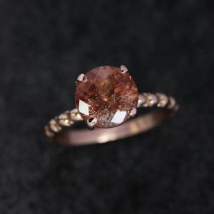 Shop Sunstone Rings! Peachy Oregon Sunstone Ring, 14k Rose Gold Gemstone Ring, Gold Band, Recycled Gold, Usa Mined Conflict Free Engagement Ring | Natural genuine Sunstone rings, simple unique alternative gemstone engagement rings. #rings #jewelry #bridal #wedding #jewelryaccessories #engagementrings #weddingideas #affiliate #ad