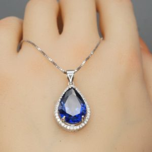 Shop Tanzanite Necklaces! Large Tanzanite Necklace – Sterling Silver December Birthstone Pear 7 CT Blue Teardrop Tanzanite Jewelry | Natural genuine Tanzanite necklaces. Buy crystal jewelry, handmade handcrafted artisan jewelry for women.  Unique handmade gift ideas. #jewelry #beadednecklaces #beadedjewelry #gift #shopping #handmadejewelry #fashion #style #product #necklaces #affiliate #ad