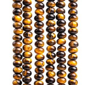 Shop Tiger Eye Rondelle Beads! 94 / 47 Pcs – 6x4MM Yellow Tiger Eye Beads Grade AAA Genuine Natural Rondelle Gemstone Loose Beads (102984) | Natural genuine rondelle Tiger Eye beads for beading and jewelry making.  #jewelry #beads #beadedjewelry #diyjewelry #jewelrymaking #beadstore #beading #affiliate #ad